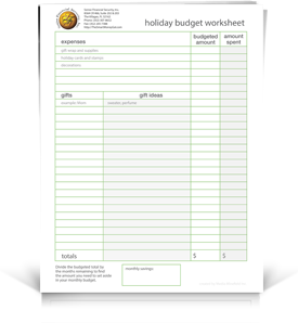 SFS Holiday Budget Worksheet